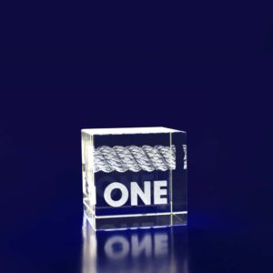 laser etched glass paperweight cube 40mm