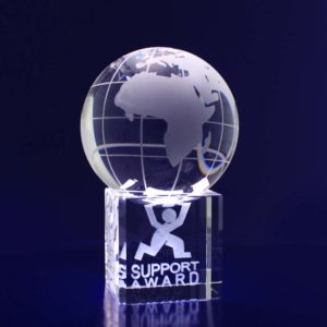 world globe paperweight 3d etched crystal