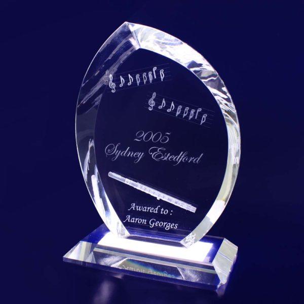 3d crystal trophy flame
