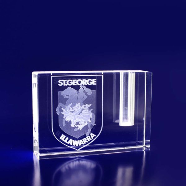 Corporate crystal gift pen holder paperweight