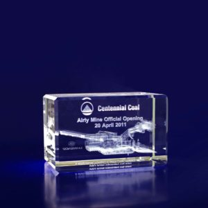 3d glass engraved tower 80mm