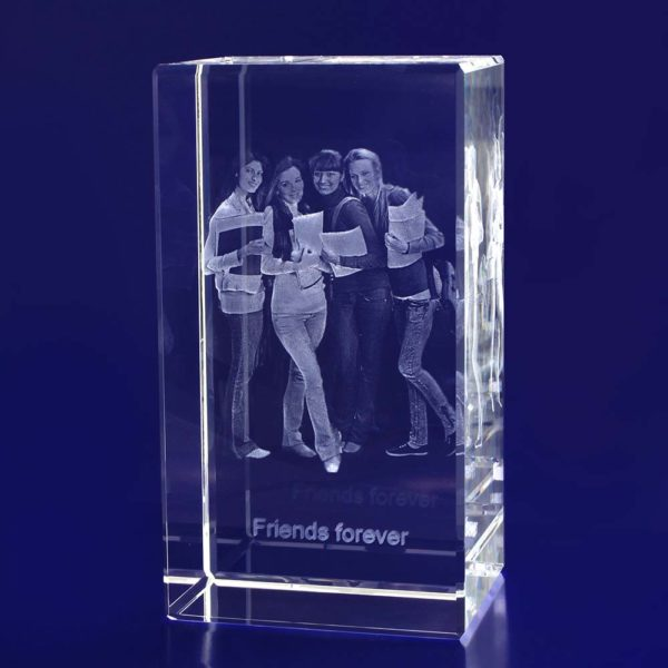 3d laser photo in glass rectangle
