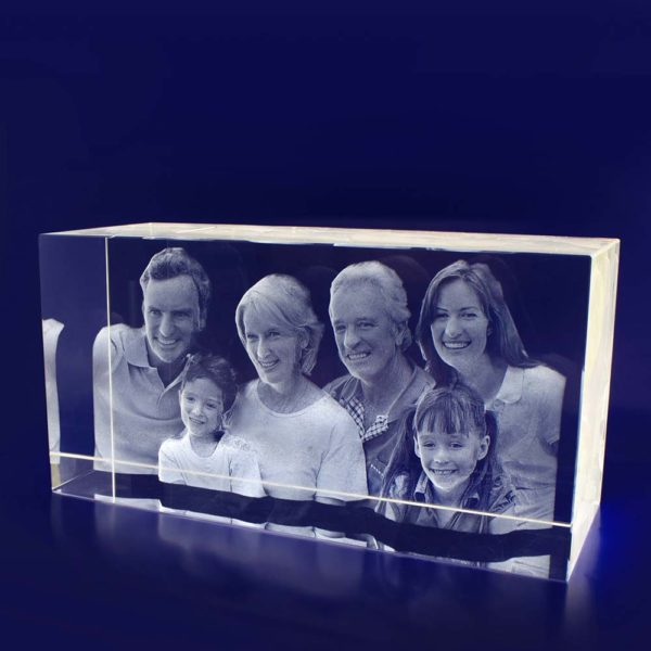 3d glass engraving in rectangle
