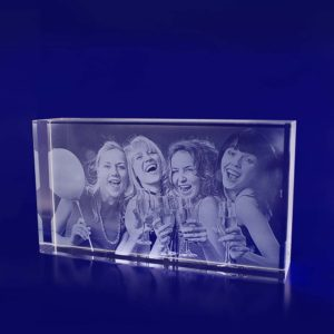glass photo block rectangle thin 200mm 2d