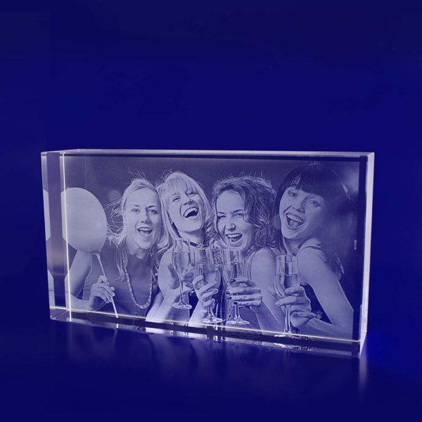glass photo block rectangle thin 200mm 2d