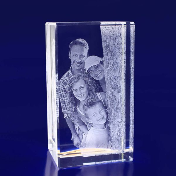 laser photo crystal engraved rectangle 160mm 2d