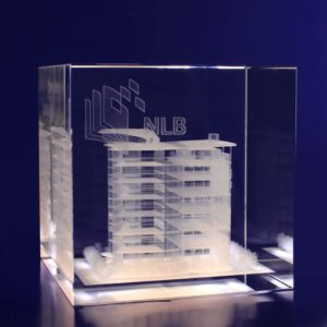 3d crystal cube paperweight 100mm