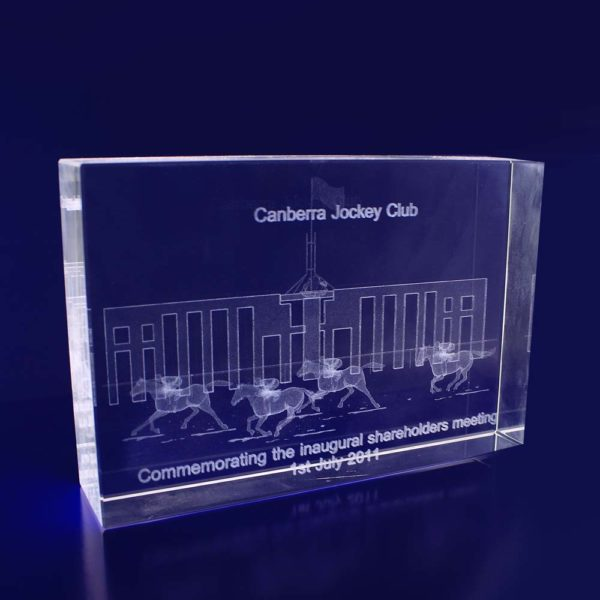 3d glass etched trophy rectangle 150mm