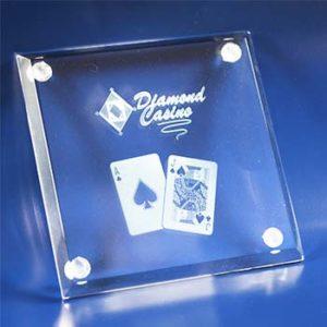 laser photo engraved glass drink coaster 2d