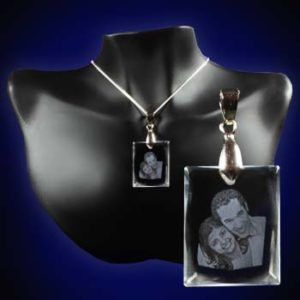 Rectangle Crystal Photo Pendant 2d