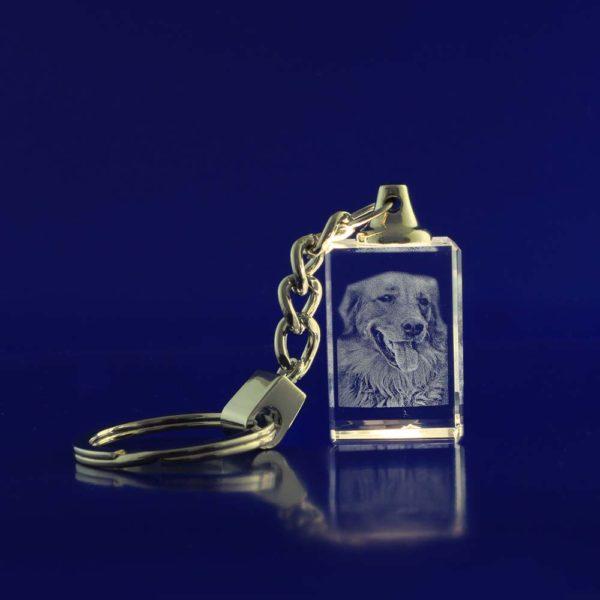 laser engraved 3d crystal keychain