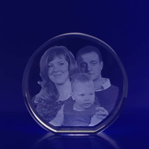 laser photo etched round crystal 2d