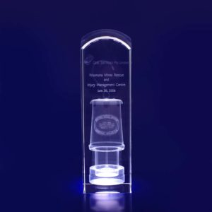 3d crystal trophy rect dome 200mm