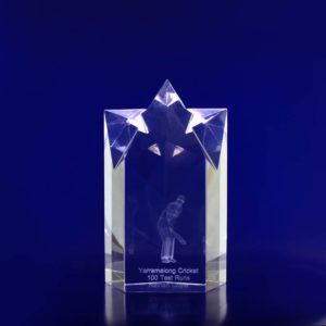 engraved crystal star trophy 150mm