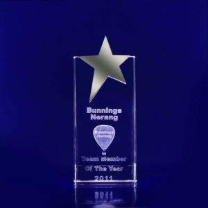 3d glass engraved star trophy 170mm