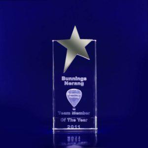 3d glass engraved star trophy 170mm