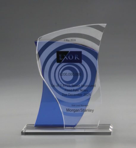 Customer Crystal Award with 3D Laser Engraving and Coloured Crystal