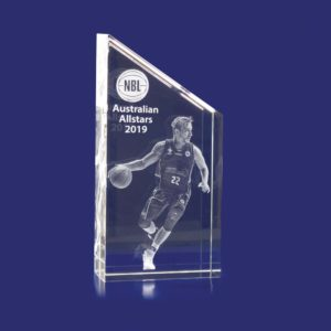 Rectangle Slope trophy with 3D engraving