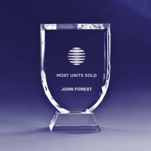 Shield Trophy crystal award