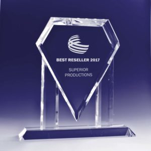 Superman Crystal Trophy angle view